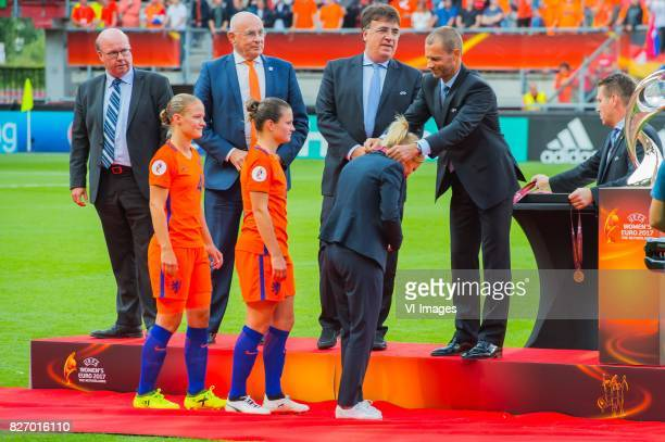 coach Sarina Wiegman of Holland Women gets her medal during the UEFA WEURO 2017 final match between The Netherlands and Denmark at the Grolsch Veste...