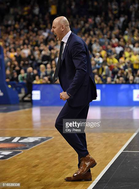 coach Sasa Obradovic of ALBA Berlin during Beko BBL game between Alba Berlin and EWE Baskets Oldenburg on march 19 2016 in Berlin Germany