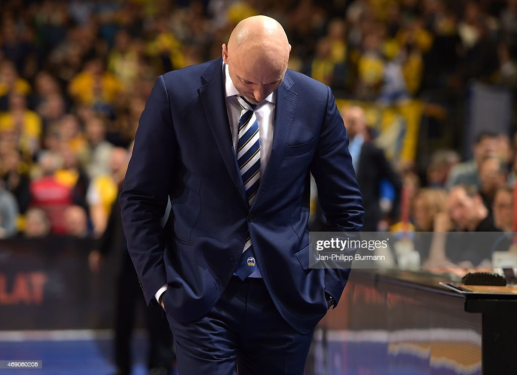 Coach Sasa Obradovic of ALBA Berlin during the game between Alba Berlin and Maccabi Tel Aviv on April 9, 2015 in Berlin, Germany.