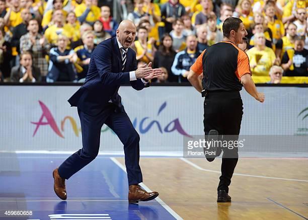 Coach Sasa Obradovic of ALBA Berlin gestures during the Turkish Airlines Euroleague Basketball Regular Season round 7 game between Alba Berlin and...