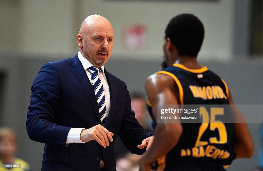 Coach Sasa Obradovic of ALBA Berlin reacts during the Beko BBL Basketball Bundesliga match between Phoenix Hagen and ALBA Berlin at Enerviearena on November 16, 2014 in Hagen, Germany.