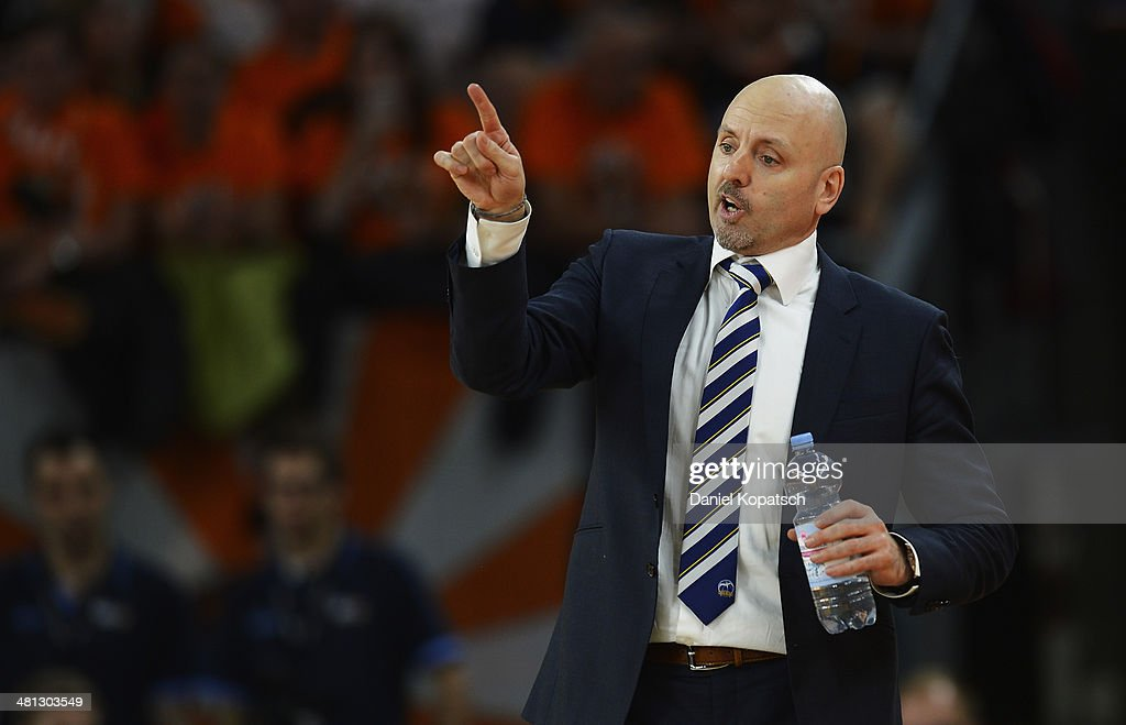 Coach Sasa Obradovic of Berlin reacts during the Beko BBL Top Four semifinal match between Alba Berlin and Brose Baskets at ratiopharm arena on March 29, 2014 in Ulm, Germany.