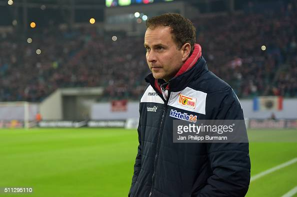 Coach Sascha Lewandowski of 1 FC Union Berlin during the game between RB Leipzig and Union Berlin on February 19 2016 in Leipzig Germany