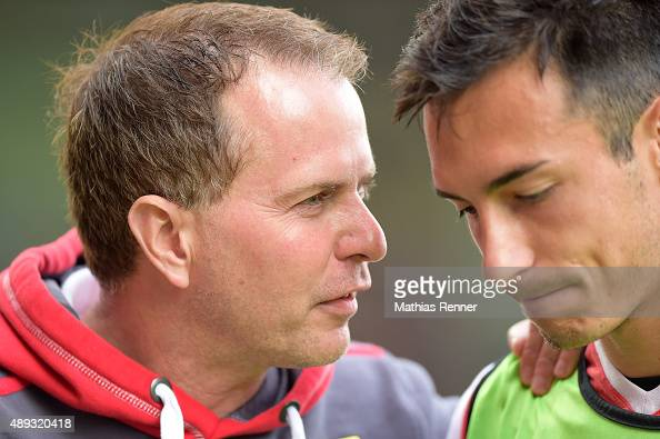 coach Sascha Lewandowski of 1 FC Union Berlin gives instructions during the game between Union Berlin and Spvgg Greuther Fuerth on September 20 2015...