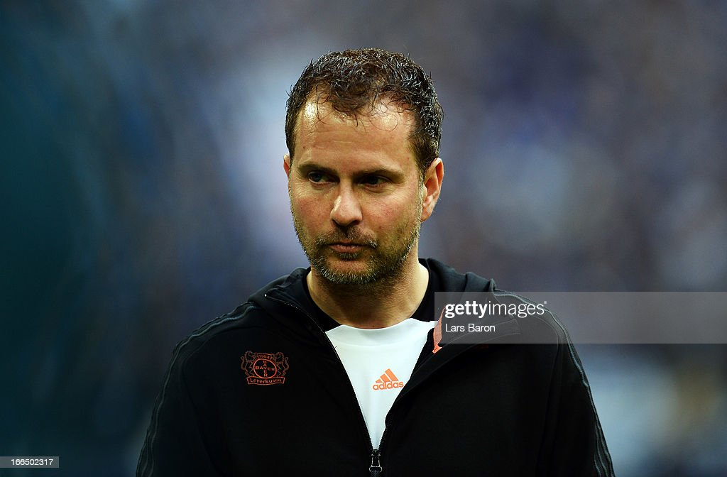 Coach <a gi-track='captionPersonalityLinkClicked' href=/galleries/search?phrase=Sascha+Lewandowski&family=editorial&specificpeople=5134760 ng-click='$event.stopPropagation()'>Sascha Lewandowski</a> of Leverkusen looks on prior to the Bundesliga match between FC Schalke 04 and Bayer 04 Leverkusen at Veltins-Arena on April 13, 2013 in Gelsenkirchen, Germany.