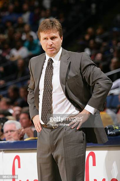 Coach Scott Brooks looks on in a game against the Golden State Warriors on April 11 2010 at Oracle Arena in Oakland California NOTE TO USER User...