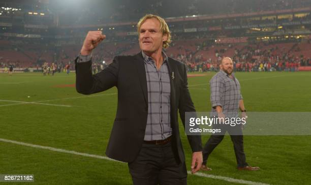 Coach Scott Robertson of the Crusaders celebrates after the Super Rugby Final match between Emirates Lions and Crusaders at Emirates Airline Park on...