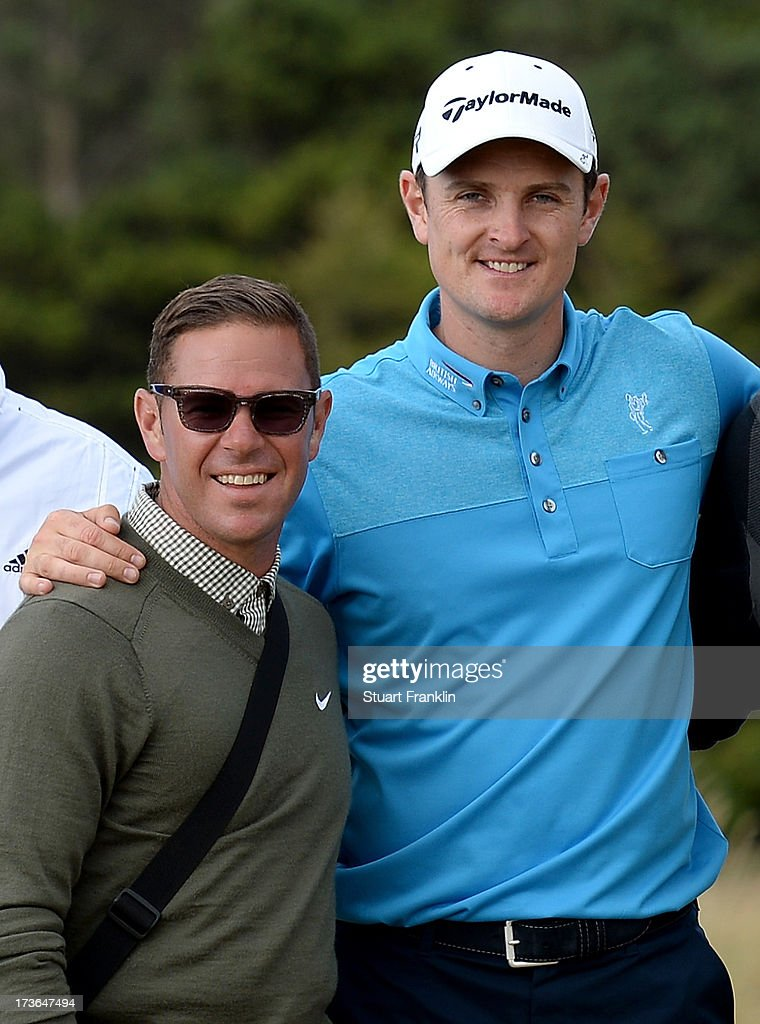 Coach Sean Foley and Justin Rose of England pose for a photo ahead of the 142nd Open Championship at Muirfield on July 16, 2013 in Gullane, Scotland.