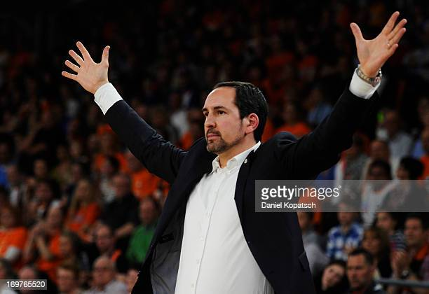 Coach Sebastian Machowski of Oldenburg reacts during the fourth Game of the semifinals of the Beko Basketball Playoffs match between Ratiopharm Ulm...