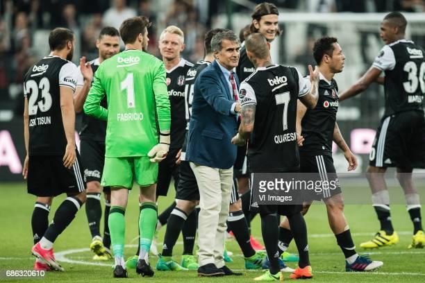coach Senol Gunes of Besiktas JK thanks his playersduring the Turkish Spor Toto Super Lig football match between Besiktas JK and Kasimpasa AS on May...