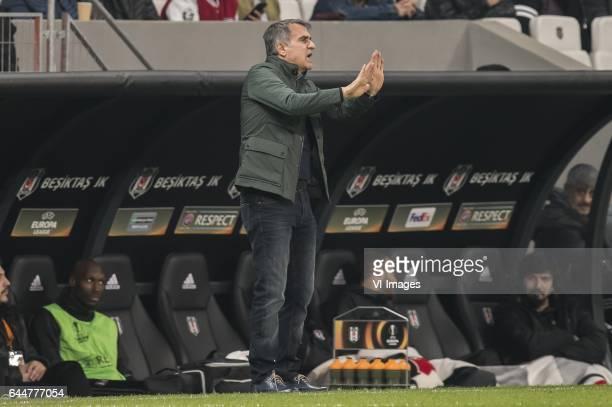 coach Senol Gunes of Besiktas JKduring the UEFA Europa League round of 16 match between Besiktas JK and Hapoel Beer Sheva on February 23 2017 at the...
