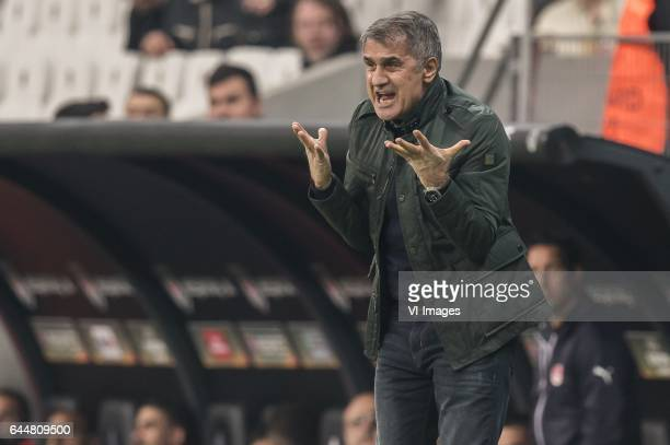 coach Senol Gunes of Besiktas JKduring the UEFA Europa League round of 16 match between Besiktas JK and Hapoel Beer Sheva on February 23 2017 at the...