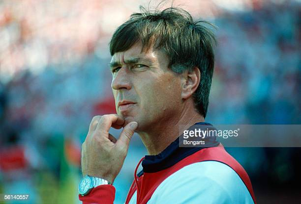 coach Sepp Piontek of Denmark is seen during the European Championship match between Germany and Denmark on June 14 1988 in Gelsenkrichen Germany