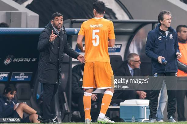 coach Sergio Conceicao of FC Porto give instructions to Ivan Marcano Sierra of FC Porto during the UEFA Champions League group G match between...