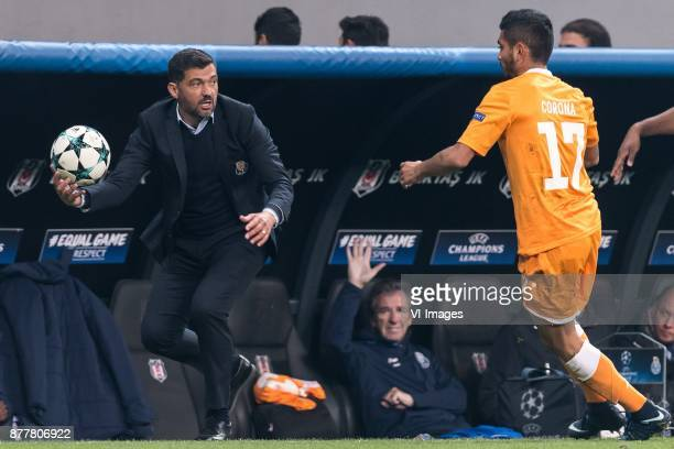 coach Sergio Conceicao of FC Porto Jesus Corona of FC Porto during the UEFA Champions League group G match between Besiktas JK and FC Porto on...