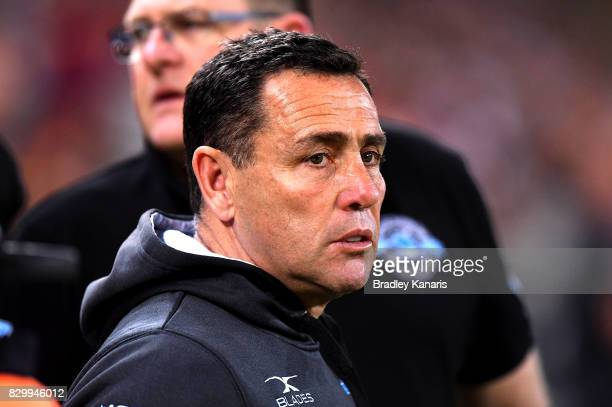 Coach Shane Flanagan of the Sharks is seen before the round 23 NRL match between the Brisbane Broncos and the Cronulla Sharks at Suncorp Stadium on...
