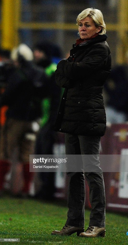 Coach Silvia Neid of Germany looks on during the international friendly match between France and Germany at Stade de la Meinau on February 13, 2013 in Strasbourg, France.