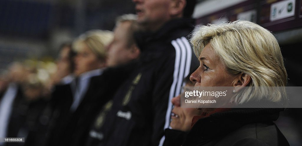 Coach Silvia Neid of Germany looks on prior the international friendly match between France and Germany at Stade de la Meinau on February 13, 2013 in Strasbourg, France.