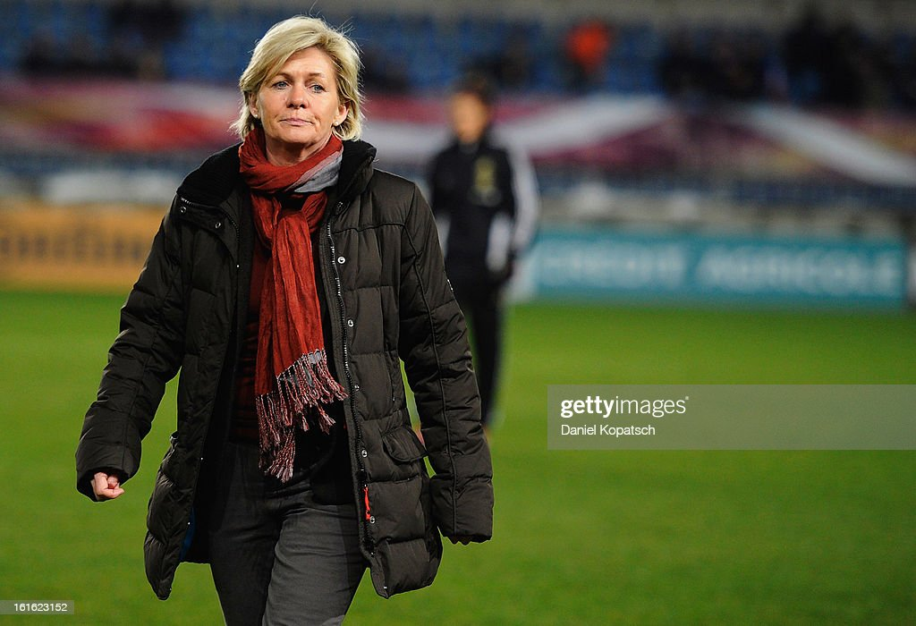 Coach Silvia Neid of Germany looks on prior to the international friendly match between France and Germany at Stade de la Meinau on February 13, 2013 in Strasbourg, France.