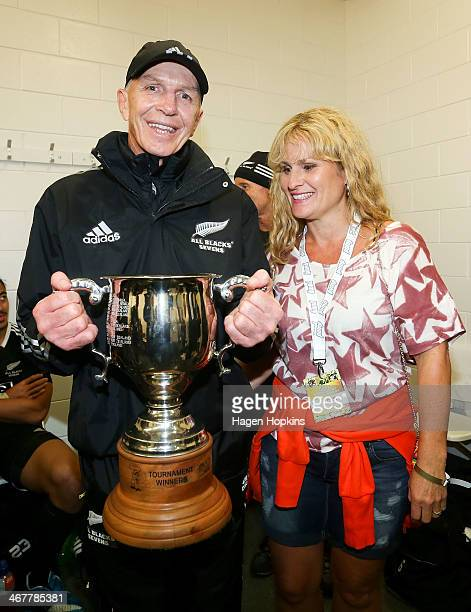 Coach Sir Gordon Tietjens of New Zealand and wife Julia celebrate after winning the Cup Final match between New Zealand and South Africa during the...
