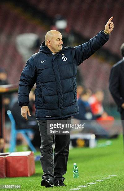 coach Stanislav Cherchesov of Dinamo Moskva gestures during the UEFA Europa League Round of 16 football match between SSC Napoli and FC Dinamo Moskva...
