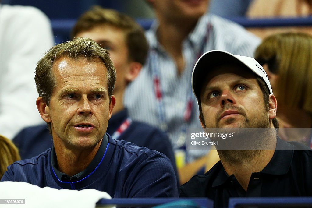 Coach <a gi-track='captionPersonalityLinkClicked' href=/galleries/search?phrase=Stefan+Edberg&family=editorial&specificpeople=2249845 ng-click='$event.stopPropagation()'>Stefan Edberg</a> and Severin Luthi watch Roger Federer of Switzerland play Steve Darcis of Belgium during their Men's Singles Second Round match on Day Four of the 2015 US Open at the USTA Billie Jean King National Tennis Center on September 3, 2015 in the Flushing neighborhood of the Queens borough of New York City.