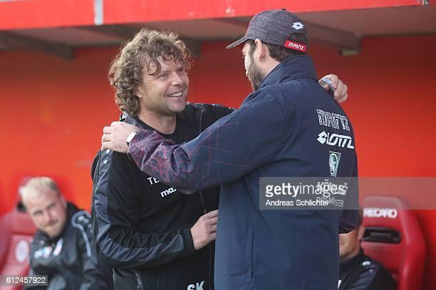 Coach Stefan Kraemer of RW Erfurt and Coach Sandro Schwarz of FSV Mainz 05 II during the Third League match between 1FSV Mainz 05 II and RW Erfurt at...