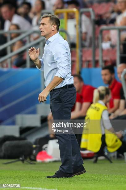 Coach Stefan Kuntz of Germany gestures during the UEFA U21 championship match between Italy and Germany at Krakow Stadium on June 24 2017 in Krakow...