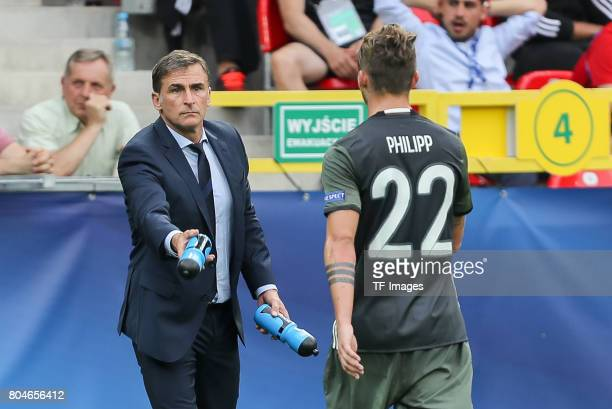 Coach Stefan Kuntz of Germany Maximilian Philipp of Germany during the UEFA European Under21 Championship Semi Final match between England and...