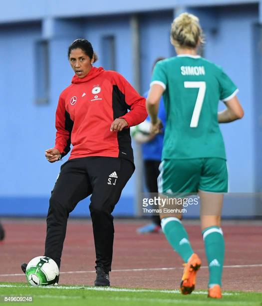 Coach Steffi Jones of Germany plays the ball during the 2019 FIFA Women's World Championship Qualifier match between Czech Republic Women's and...