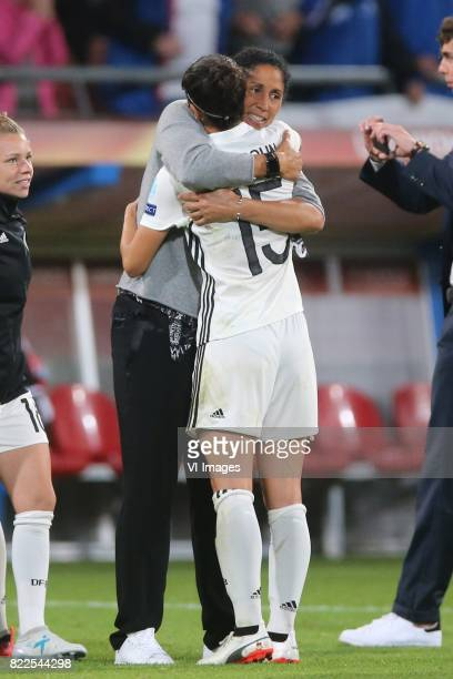 coach Steffi Jones of Germany women Sara DoorsounKhajeh of Germany women during the UEFA WEURO 2017 Group B group stage match between Russia and...