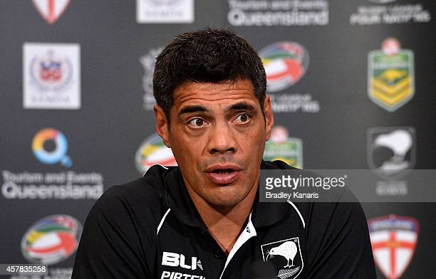 Coach Stephen Kearney of New Zealand speaks at a press conference after the Four Nations Rugby League match between the Australian Kangaroos and New...