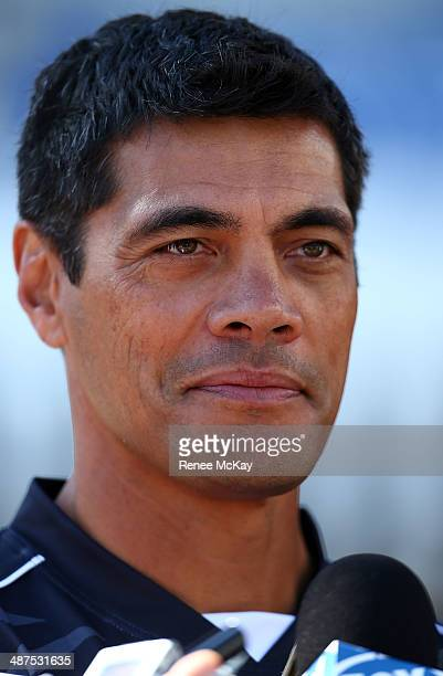 Coach Stephen Kearney talks to the media during a New Zealand Kiwis Media Session at Allianz Stadium on May 1 2014 in Sydney Australia