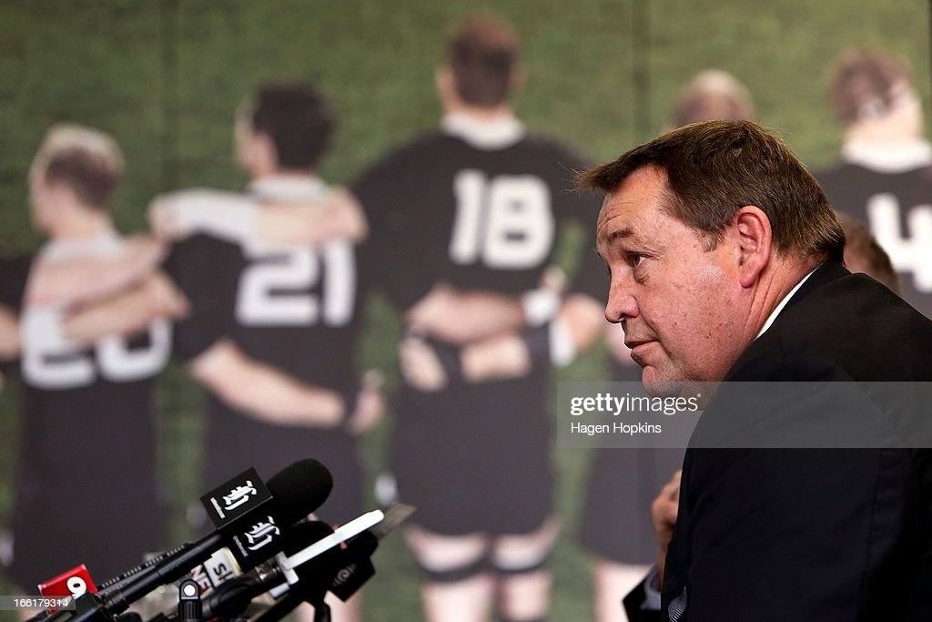Coach <a gi-track='captionPersonalityLinkClicked' href=/galleries/search?phrase=Steve+Hansen&family=editorial&specificpeople=228915 ng-click='$event.stopPropagation()'>Steve Hansen</a> looks on during a New Zealand All Blacks press conference at New Zealand Rugby House on April 10, 2013 in Wellington, New Zealand.