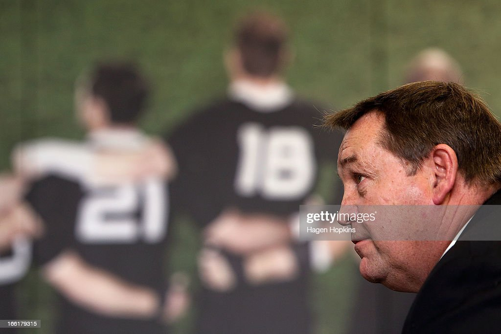 Coach Steve Hansen looks on during a New Zealand All Blacks press conference at New Zealand Rugby House on April 10, 2013 in Wellington, New Zealand.