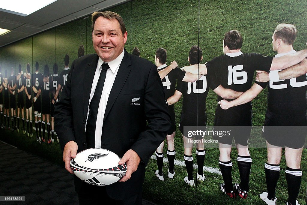 Coach <a gi-track='captionPersonalityLinkClicked' href=/galleries/search?phrase=Steve+Hansen&family=editorial&specificpeople=228915 ng-click='$event.stopPropagation()'>Steve Hansen</a> poses during a New Zealand All Blacks press conference at New Zealand Rugby House on April 10, 2013 in Wellington, New Zealand.