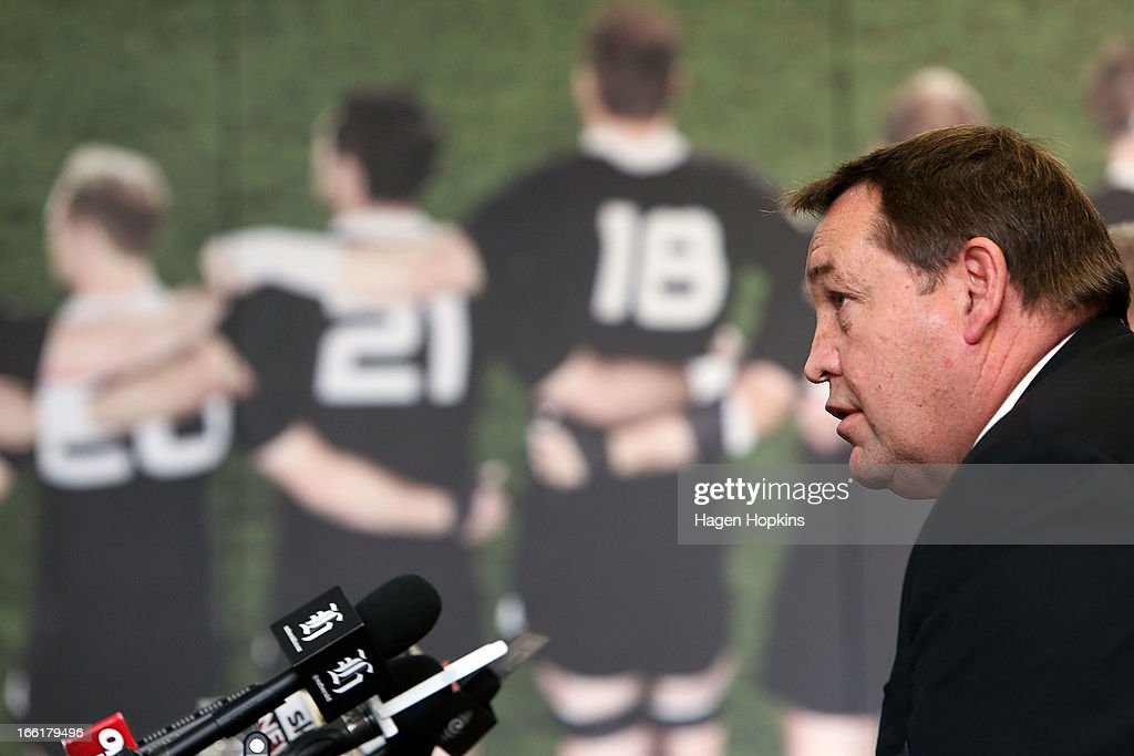 Coach Steve Hansen speaks to media during a New Zealand All Blacks press conference at New Zealand Rugby House on April 10, 2013 in Wellington, New Zealand.