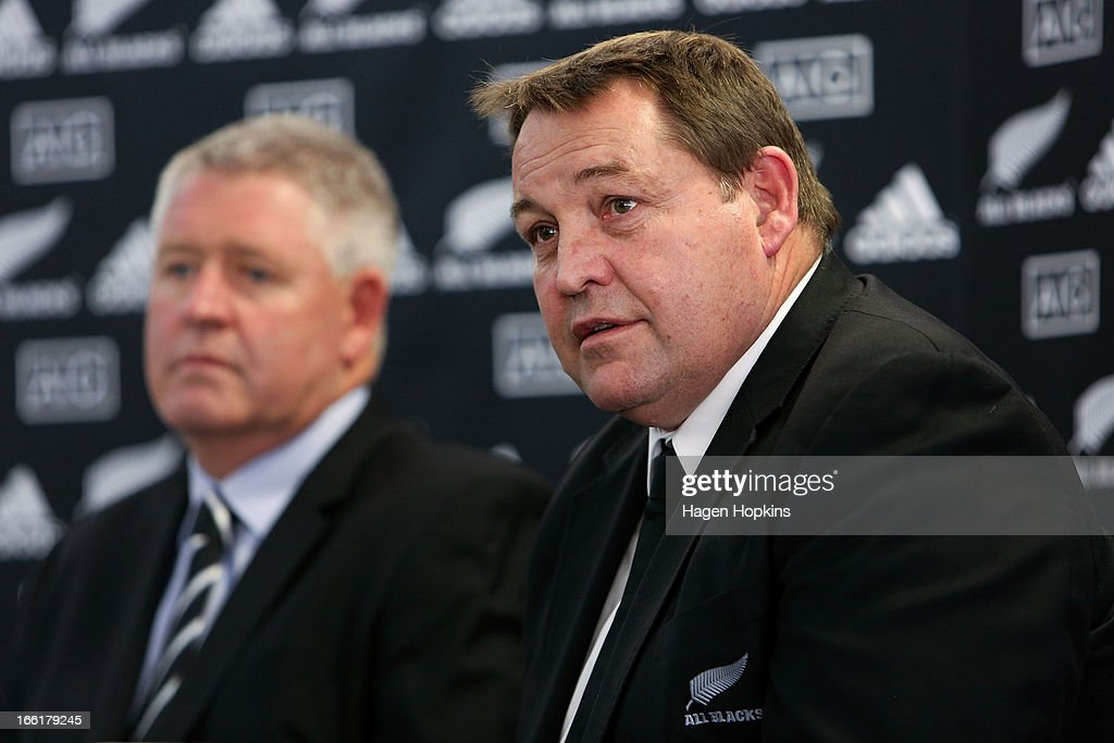 Coach Steve Hansen speaks to media while NZRU CEO Steve Tew looks on during a New Zealand All Blacks press conference at New Zealand Rugby House on April 10, 2013 in Wellington, New Zealand.