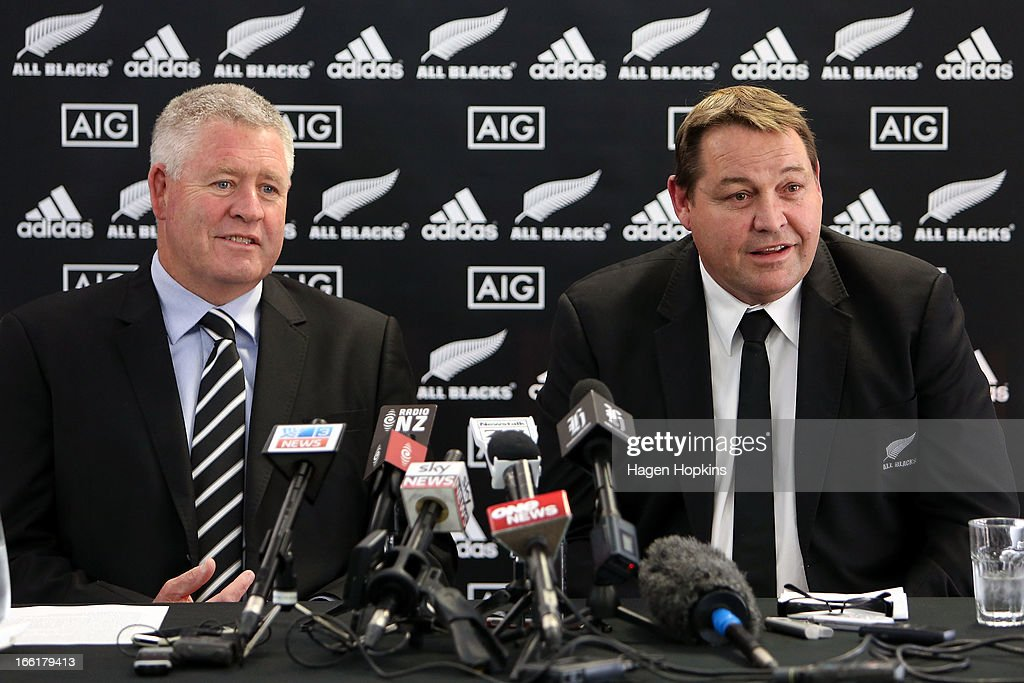 Coach <a gi-track='captionPersonalityLinkClicked' href=/galleries/search?phrase=Steve+Hansen&family=editorial&specificpeople=228915 ng-click='$event.stopPropagation()'>Steve Hansen</a> (R) speaks to media while NZRU CEO Steve Tew looks on during a New Zealand All Blacks press conference at New Zealand Rugby House on April 10, 2013 in Wellington, New Zealand.