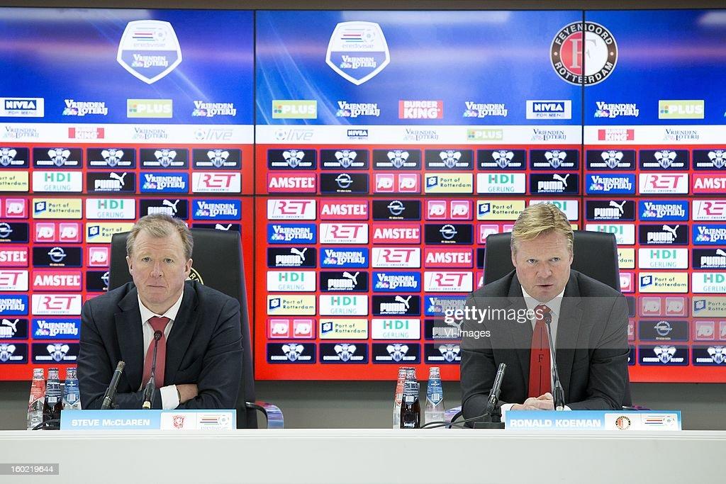 Coach Steve McClaren of FC Twente, Coach Ronald Koeman of Feyenoord during the Dutch Eredivise match between Feyenoord and FC Twente at stadium De Kuip on January 27, 2013 in Rotterdam, The Netherlands.