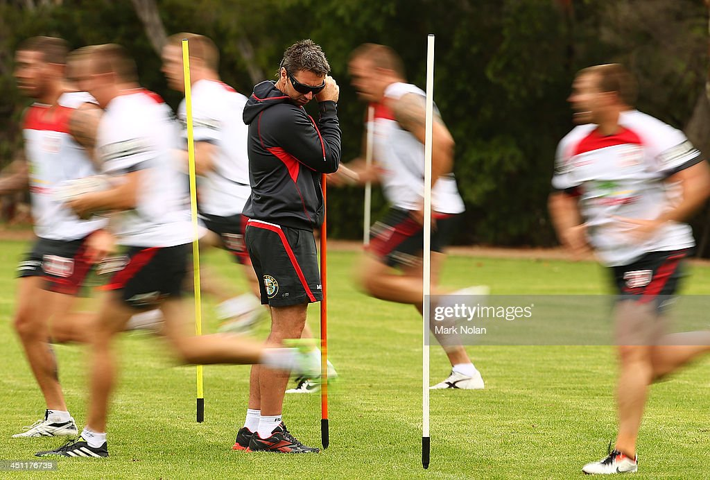 Coach Steve Price watches over his players during a St George Illawarra Dragons NRL preseason training session at the University of Wollongong on...