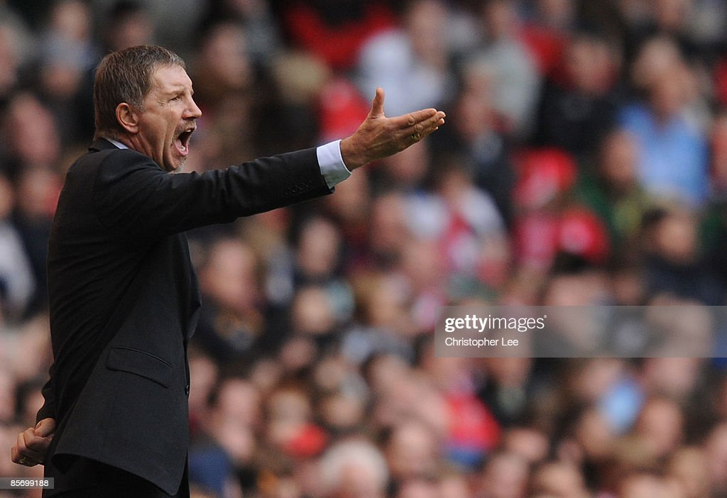 Coach Stuart Baxter of Finland shouts orders during the FIFA 2010 World Cup Qualifier Group 4 match between Wales and Finland at the Millennium...