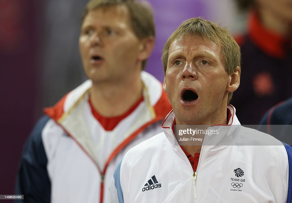 GB Coach, Stuart Pearce sings the anthem during the Men's Football Quarter Final match between Great Britain and Korea, on Day 8 of the London 2012 Olympic Games at Millennium Stadium on August 4, 2012 in Cardiff, Wales.