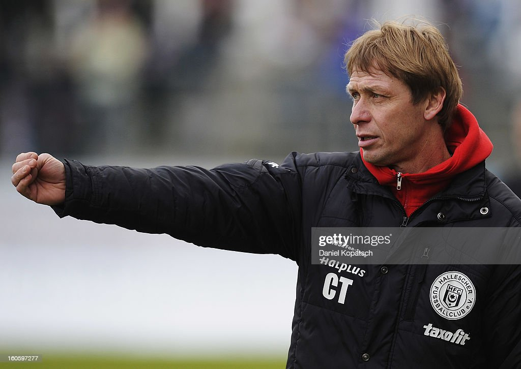Coach Sven Koehler of Halle reacts during the third Bundesliga match between SpVgg Unterhaching and Hallescher FC on February 3, 2013 in Unterhaching, Germany.