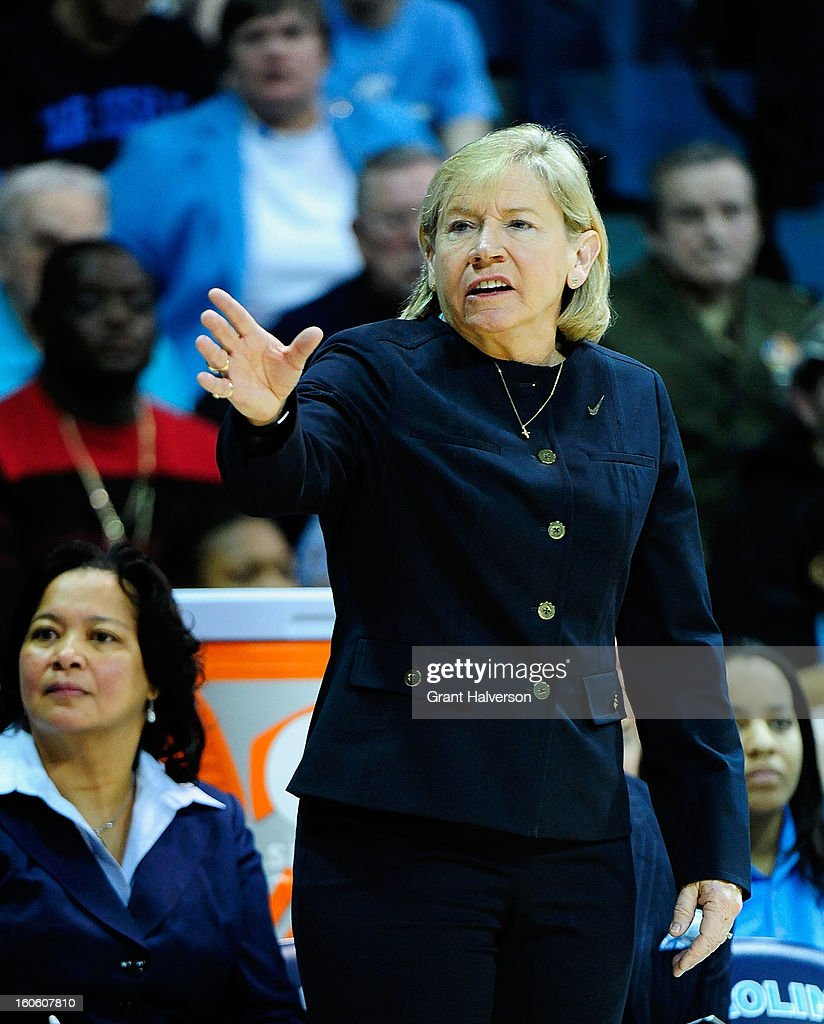 Coach Sylvia Hatchell of the North Carolina Tar Heels directs her team during play against the Duke Blue Devils at Carmichael Arena on February 3, 2013 in Chapel Hill, North Carolina.