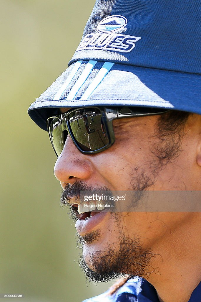 Coach <a gi-track='captionPersonalityLinkClicked' href=/galleries/search?phrase=Tana+Umaga&family=editorial&specificpeople=203218 ng-click='$event.stopPropagation()'>Tana Umaga</a> of the Blues looks on during the Super Rugby pre-season match between the Blues and the Hurricanes at Eketahuna Rugby Club on February 13, 2016 in Eketahuna, New Zealand.