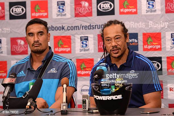 Coach Tana Umanga of the Blues speaks whilst Jerome Kaino is seen beside him with an injured right arm after the round four Super Rugby match between...