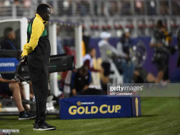 Coach Theodore Whitmore of Jamaica looks on after the final football game of the 2017 CONCACAF Gold Cup against the USA at the Levi's Stadium in...