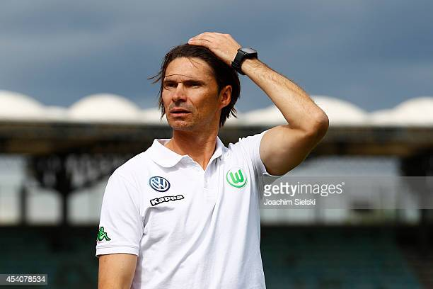 Coach Thomas Brdaric of Wolfsburg looks on during the third league match between VfL Wolfsburg II and Hamburger SV II at VfL Stadion am Elsterweg on...