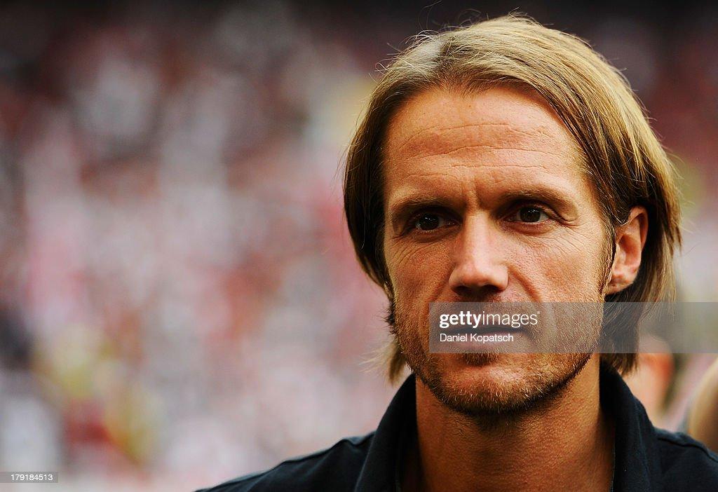 Coach Thomas Schneider of Stuttgart looks on prior to the Bundesliga match between VfB Stuttgart and 1899 Hoffenheim at Mercedes-Benz Arena on September 1, 2013 in Stuttgart, Germany.
